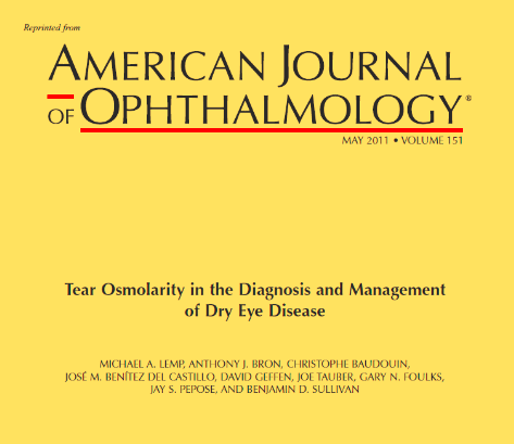Tear Osmolarity in the Diagnosis and Management of Dry Eye Disease