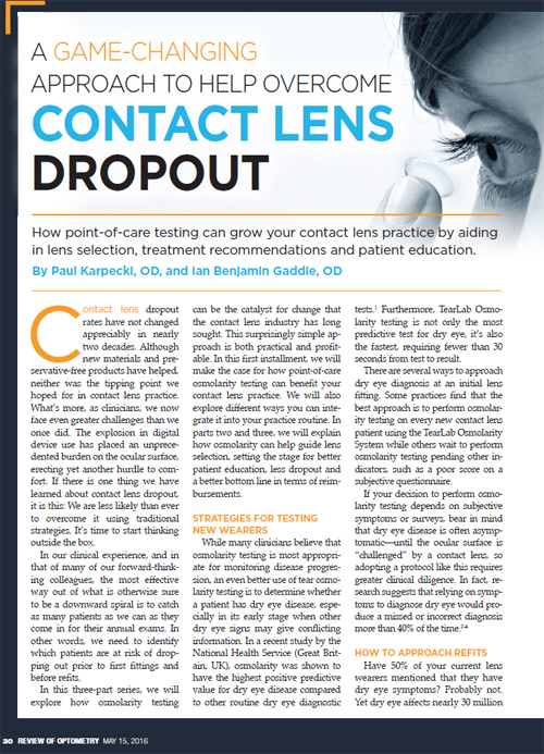Contact Lens Dropout Article Series