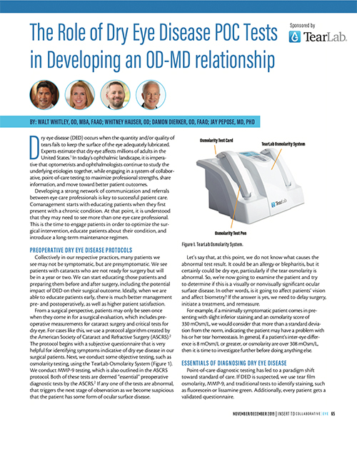 The Role of Dry Eye Disease POC Tests in Developing an OD-MD relationship